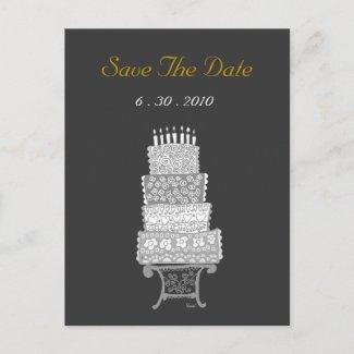 Save The Date Classic Black Wedding Cake Postcard postcard