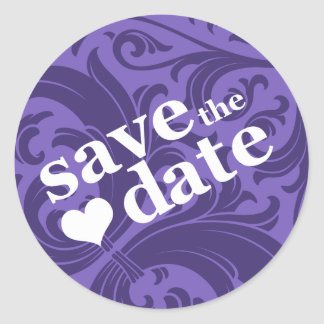 save the date classic round sticker