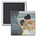 Save the Date Classy Blue & Gold Floral Magnet
