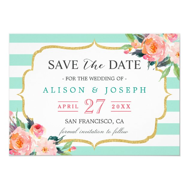 Save The Date | Classy Mint Green Stripes Floral Card