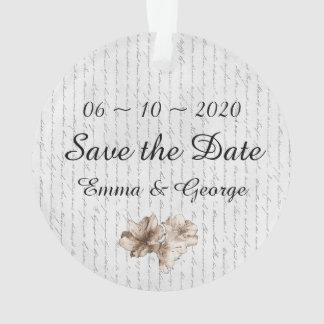 Save the Date Coffee Brown Illustrated Flower