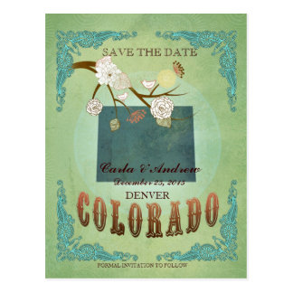 Save The Date - Colorado Map With Lovely Birds Postcard