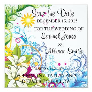 Save the Date Colorful Background Design Invite