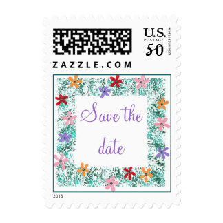 Save the date, Colorful Flower Border Stamps