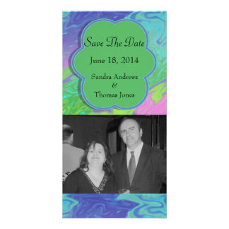 Save the Date Colorful Green Blue Card