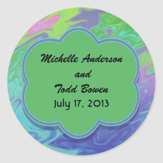 Save the Date Colorful Green Blue Classic Round Sticker