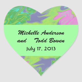Save the Date Colorful Green Blue Heart Sticker