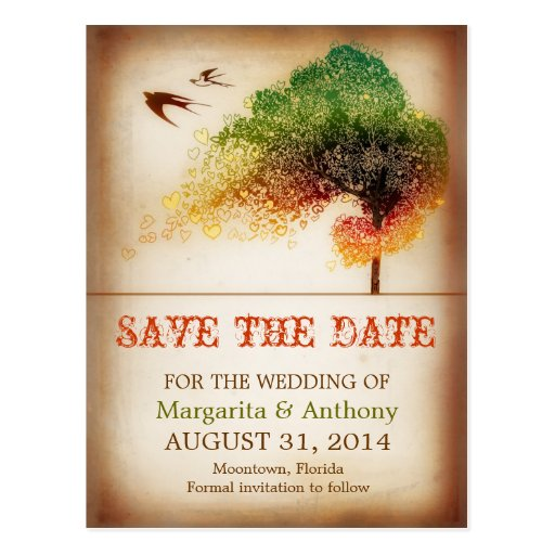 save the date colorful love tree vintage postcards