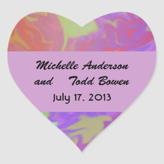 Save the Date Colorful Splash Heart Sticker