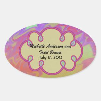 Save the Date Colorful Splash Oval Sticker