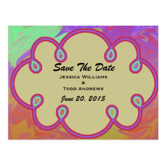 Save the Date Colorful Splash Postcard