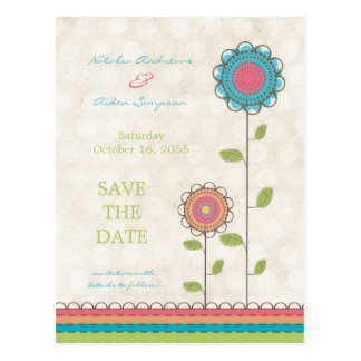 Save the Date Colorful Tall Flowers Postcard