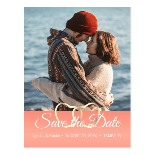 Save the Date _ Coral _Diy Photo Postcard