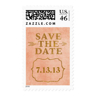 Save the Date Coral Pink and Gold Postage