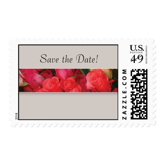 Save the Date Coral Rose Wedding Stamp