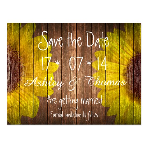 Save the Date Country Sunflowers Rustic Brown wood Postcard