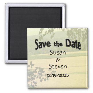 Save the Date Country Theme Wedding 2 Inch Square Magnet