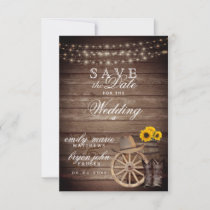 Save the Date Country Wood Barrel - Sunflowers