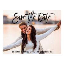 Save The Date Couple Photo Brush Script B Card