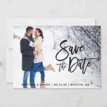 Save The Date Couple Photo Brush Script Card