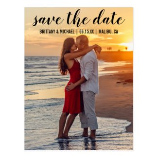 Save The Date Couple Photo Engagement Announcement Postcard