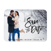 Save The Date Couple Photo Modern Brush Script Magnet