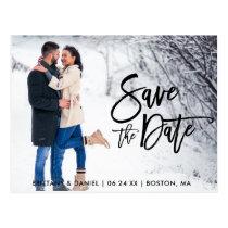 Save The Date Couple Photo Modern Brush Script Postcard