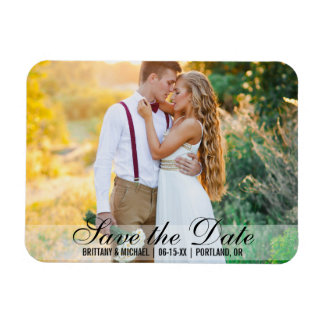 Save The Date Couple Photo Names Date Modern Magnet