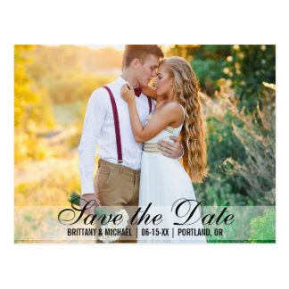 Save The Date Couple Photo Names Date Modern Postcard