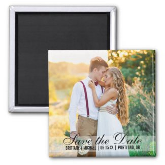 Save The Date Couple Photo Names Date Square Magnet