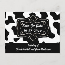 Save the Date Cow Print Wedding Postcard