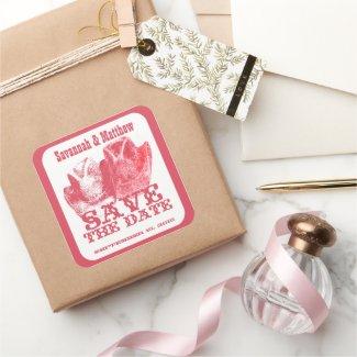 Save the Date Cowboy CowGirl Hats Wedding Sticker sticker