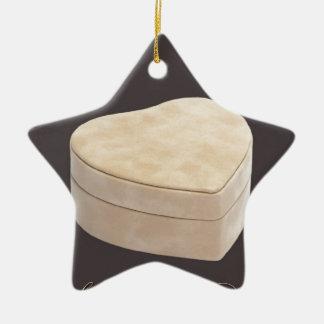 Save the Date Cream Heart Ceramic Ornament