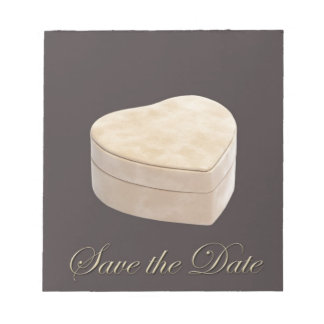 Save the Date Cream Heart Notepad
