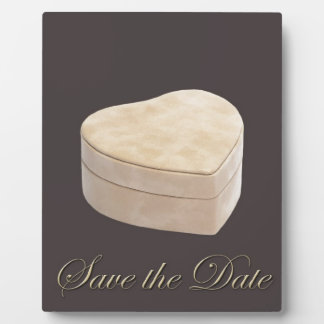 Save the Date Cream Heart Plaque