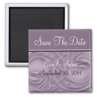 """""""Save the Date"""" Curls Over Purple 2 Inch Square Magnet"""