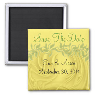"""""""Save the Date"""" Curls Over Yellow With Greenery 2 Inch Square Magnet"""