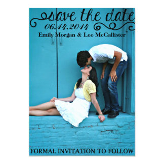 SAVE the DATE | Curly Black Letters Card