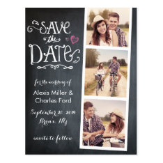 Save The Date | Curved Type Chalkboard Postcard at Zazzle