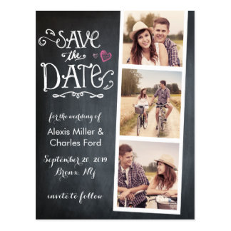 Save the Date | Curved Type Chalkboard Postcard