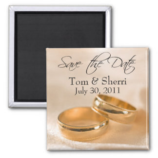 Save the Date Custom Gold Wedding Bands Magnets