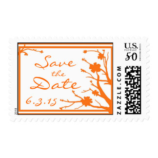 Save the Date custom orange floral wedding stamps