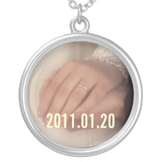 Save the date custom  photo pendant. Personalize. Silver Plated Necklace