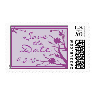 Save the Date custom purple wedding stamps