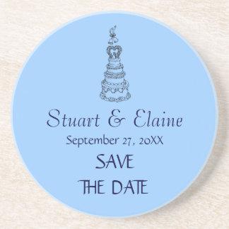 Save The Date Custom Wedding Coaster (Blue)