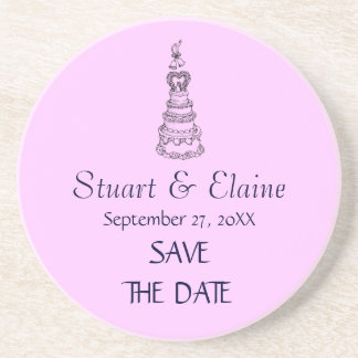 Save The Date Custom Wedding Coaster (Pink)
