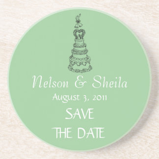 Save The Date Custom Wedding Coasters (Green)