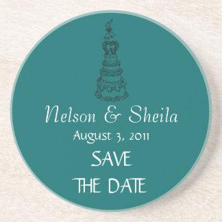 Save The Date Custom Wedding Coasters (Teal)