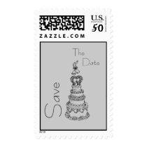 Save The Date Custom Wedding Postage (Pale Gray)