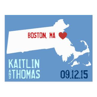 Save the Date - Customizable - Massachusetts Postcard